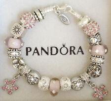 Authentic Pandora Charm Bracelet Pink Heart Love Flower Silver European Charms