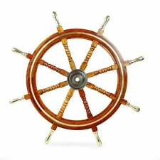 "72"" Premium Wood Handcrafted Nautical Ship Wheel Brass Handles & Ring 
