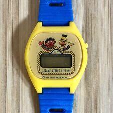 Vtg Sesame Street Live Digital Wrist Watch Blue Yellow Spell Out