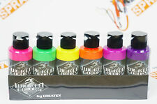 Createx Wicked Colors Fluorescent Set Airbrush Paint Water Based 6 * 2oz W103