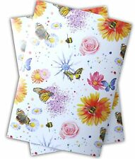 Flowers, butterflies and bees  Gift Wrapping Paper; 2 sheets