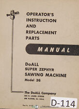 Doall 36 Super Zephyer Band Saw Instructions And Parts List Manual