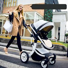 LUXURY Baby Stroller Jogger Carriage Infant Travel System Foldable PU Pushchair