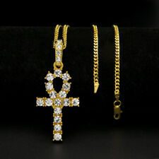 Unisex Men Stainless Steel Crystal Cross Pendant Necklace Hip Hop Chain Jewelry