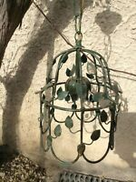 Vintage French Toile work Ceiling Light Fixture Chandelier Cage Green Pendant
