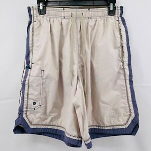 Mens SPEEDO Swim Trunks Size Medium Tan Blue Pockets Vintage 90s Look Drawstring