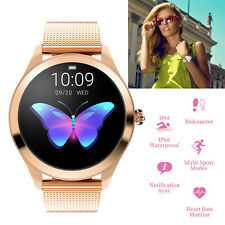 Women Smart Watch Bluetooth Fitness Tracker Round Touch Screen for Gift Present