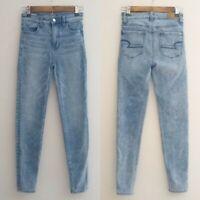 American Eagle Super Hi Rise Jegging Jeans Women Size 00 Light Wash Acid Skinny