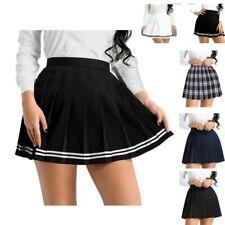 Pleated Mini Skirt School Girl Uniform High Waisted Tennis Short Skirt Clubwear
