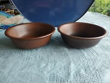 Lot of 2 Arabia Of Finland RUSKA Coupe Cereal Bowls Ulla Procope Brown Speckled