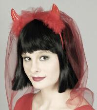 DIABLO Cuernos Diadema Disfraz de diablo Velo De Novia Despedida De Soltero Rojo