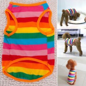 Summer New Dog Pet Cat Rainbow Stripe Clothes Mesh Vest Small Medium Dog T-shirt