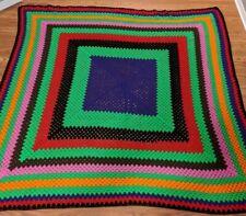 Vintage Throw Blanket Afghan Crochet Knit Handmade Needlecraft Queen/King Size