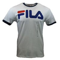 FILA Men's T-shirt - Athletic Sports Apparel-Retro Vintage Blue Ringer Tee WHITE