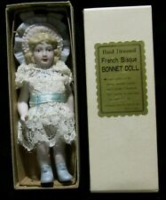 """IOB Vintage Shackman NY 5.25"""" French Bisque Bonnet Doll - Lace Dress"""