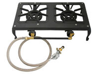 Double 2 Burner Country Cooker Cast Iron LPG Gas Camp Stove with Hose Regulator
