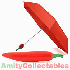 RED CHILLI PEPPER UMBRELLA Plastic Case, Hot, Vegetables, Folding, Gift, Novelty