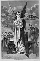 SPIRITS ABROAD, 1860 ANTIQUE ENGRAVING, SPIRIT OF UNION