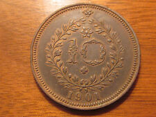 1901 PORTUGAL AZORES 10 REIS COIN HIGH GRADE LOW MINTAGE