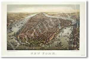 1873 - Birds Eye View of New York - NEW Vintage Photograph POSTER