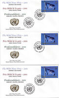 UNITED NATIONS 2001 NOBEL PEACE PRIZE UNITED FOR PEACE 3 FIRST DAY COVERS SHSs