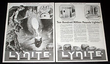 1919 OLD MAGAZINE PRINT AD, LIGHTER LYNITE ALUMINUM, ENGINE BLOCK CASTING, ART!