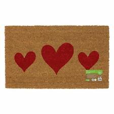 JVL Eco-Friendly Placement Latex Backed Coir Entrance Door Mat, Hearts Design