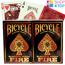 2 DECKS OF BICYCLE FIRE ELEMENTS SERIES POKER PLAYING CARDS ORANGE RED NEW