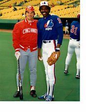 PETE ROSE ANDRE DAWSON REDS EXPOS 8X10 PHOTO BASEBALL HOF USA CANADA