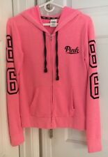Victorias Secret Pink Womens Juniors Hoodie Pink Full Zip Size Extra Small