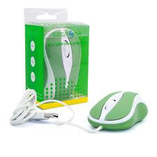 grün / weiße Mini USB PC / Laptop /  Notebook Maus klein Kabel optisch 800dpi