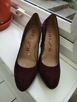 UNISA - Cushion high heel suede court Soft Shoes Size 3 - 38 In Plum - Mauve VGC