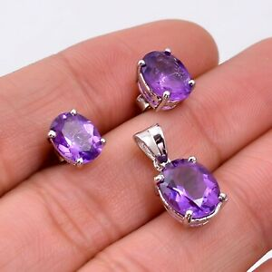 Natural Amethyst Oval 925 Sterling Silver Women Earrings & Pendant Jewelry Set
