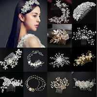 Crystal Flower Wedding Prom Bridal Bridesmaid Pearl Hair Comb Hairpin Clip Tiara