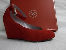 Johnston & Murphy 7 M Tracey Red Suede Ankle Strap Wedges New Womens Shoes