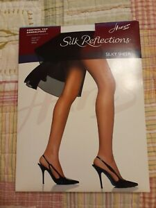 Hanes Women's Control Top Sandalfoot Silk Reflections Hosiery White Size E/F