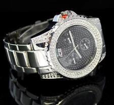 Mens Silver Tone Simulated Diamond Metal Band Bling Hip Hop Quartz Watch