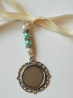 Bridal Memory Bouquet Charm Round Silver Locket ivory/pale blue pearls, gift bag
