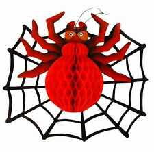 LARGE 3D SPIDER & WEB HALLOWEEN PARTY SPOOKY HANGING WALL ROOM DECORATION PROP