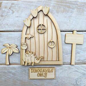 Plywood 13cm high Fairy Door Blank Craft Kit Elf Hobbit PIXIE Dinosaur Theme P