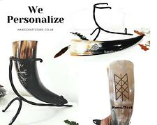 More details for personalized engraved large viking drinking horns with iron stand