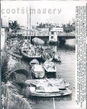 1963 Cuban Fishing Boats Docked Miami River Florida Press Photo