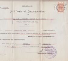 Stamp New Zealand stamp duty 6 pound on 1933 Certificate of Incorporation perfin