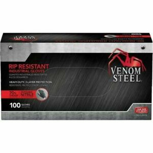 FREE SHIPPING!!! VENOM STEEL Nitrile Gloves Rip Resistant Size Fits Most 100 CT