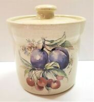 Small Fruit Designed Stoneware Crock With Lid Plums and Cherries Excellent Cond
