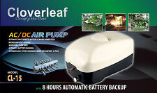 CLOVERLEAF POND AIR PUMP 8HR MAINS POWER PLUS AUTOMATIC BATTERY BACKUP FISH POND