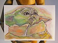 THE CHILD ACEO Print Card By Phil Born  Star Wars Baby Yoda Mandalorian