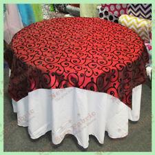 "Table Overlay 58"" X 58"" Square Flocking Swirl Taffeta Burgundy / Black"