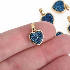 2 BLUE TITANIUM Druzy Quartz Charms HEART Gold Brass 17x11mm chs4365