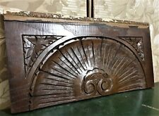 Architectural salvage gothic shell pediment Antique french wood crest cornice